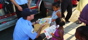 Kids and Firefighters at PDX National Night Out event.